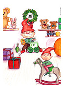 Christmas Eve Drawings Metal Prints - Santas Workshop Metal Print by Ghita Andersen
