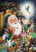 Santa Claus Posters - Santas Workshop Poster by Lynn Bywaters