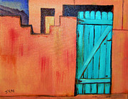 Residential Structure Painting Framed Prints - Sante Fe Door in Oil Framed Print by Janice Rae Pariza