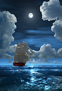 Ocean Scenes Digital Art Posters - Santisima Trinida in the Moonlight 2 Poster by Duane McCullough