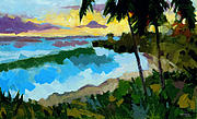Tropical Sunset Painting Framed Prints - Santo Domingo 1 Framed Print by Douglas Simonson