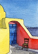 Greece Watercolor Paintings - Santorini ACEO by Davide Rinaldi