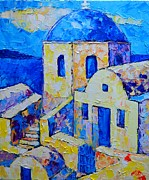 Traditional Doors Painting Framed Prints - Santorini Afternoon Framed Print by Ana Maria Edulescu