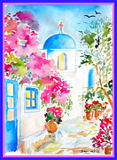 Pots Drawings Prints - Santorini Alley Print by Roberto Gagliardi