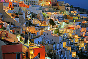 Greece Photos - Santorini at Night by Lars Ruecker