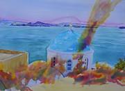 Santorini Fire Print by Warren Thompson