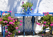 Red Geraniums Prints - Santorini Greece Print by Jim  Wallace