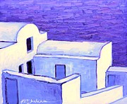 Traditional Doors Painting Framed Prints - Santorini houses Framed Print by Ana Maria Edulescu