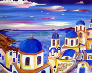 Churches Painting Originals - Santorini is my dream by Roberto Gagliardi