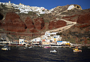 Colette Posters - Santorini  Island  View to Oia Greece Poster by Colette Hera  Guggenheim