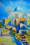 Steps Painting Posters - Santorini Light Poster by Ana Maria Edulescu