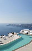 Lounge Prints - Santorini Luxury Pool Print by Antony McAulay