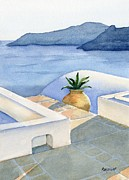 Greece Painting Originals - Santorini by Marsha Elliott