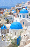 Thira Framed Prints - Santorini Oil Painting Framed Print by Antony McAulay