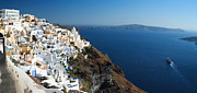 Thira Framed Prints - Santorini panorama and cruise ship Framed Print by Paul Cowan