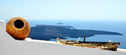 Pot Boat Framed Prints - Santorini Rooftop Framed Print by Corinne Rhode