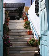 Isles Photos - Santorini Steps by Mel Steinhauer
