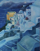 Norwegian Sunset Paintings - Santorini Sunset by Kandy Cross