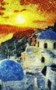 Greece Mixed Media Prints - Santorini Sunset Print by Mo T