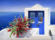 Summer Vacation Pastels Framed Prints - Santorini The Blue Door Framed Print by Stephanie Woerner