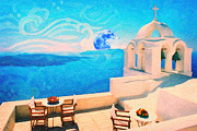Difficulties Love Posters - Santorini town Greece Poster by MotionAge Art and Design - Ahmet Asar