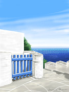 Greek Digital Art - Santorini by Veronica Minozzi