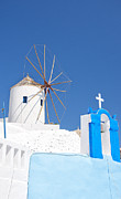 Old Beauty Framed Prints - Santorini Windmill 01 Framed Print by Antony McAulay