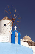 Old Beauty Framed Prints - Santorini Windmill 03 Framed Print by Antony McAulay