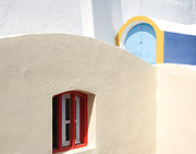 Greece Pyrography Prints - Santorini Window Print by Barry  Fawcett