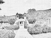 Pastoral Mixed Media Framed Prints - Santuario De Chimayo Canvas Sketch By JFantasma Photography Framed Print by JFantasma Photography