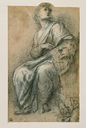 Drapery Prints - Sanzio Raffaello, Male Figure Wrapped Print by Everett
