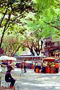 Park Scene Mixed Media Metal Prints - Sao Paulo 6 - Digital Art Metal Print by Steve Ohlsen