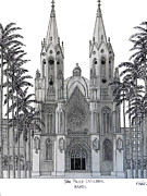 Sao Paulo Mixed Media Framed Prints - Sao Paulo Cathedral Framed Print by Frederic Kohli