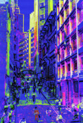 Businesses Mixed Media Prints - Sao Paulo Downtown at Night Print by Steve Ohlsen