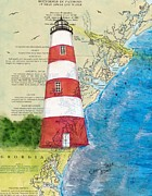 East Coast Lighthouse Paintings - Sapelo Island Lighthouse GA Nautical Chart Map Art Cathy Peek by Cathy Peek