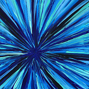 Burst Painting Posters - Sapphire Indulgence - Blue Abstract Custom Painting Poster by Sharon Cummings