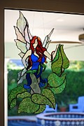 Angel Glass Art - Sapphire  by Nora Solomon