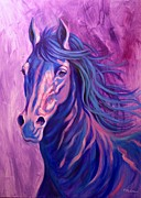 Colorful Horse Paintings - Sapphire by Theresa Paden