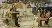 Ancient Greek Framed Prints - Sappho and Alcaeus Framed Print by Sir Lawrence Alma-Tadema