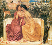 Embracing Framed Prints - Sappho and Erinna in a Garden of at Mitylene Framed Print by Simeon Solomon