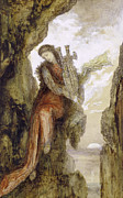 Lyre Posters - Sappho on the Cliff Poster by Gustave Moreau