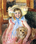 Portrait Of Dog Prints - Sara and her Dog Print by Mary Stevenson Cassatt
