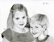 Sister Drawings - Sarah and Matt by Tamir Barkan