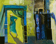Hebrew Paintings - Sarah and the Three Angels by Richard Mcbee