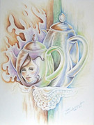 Teapot Drawings - Sarah by Catherine Henningham Puttick