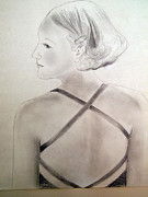 Straps Drawings Prints - Sarah in Brown Satin Print by Nancy Kane Chapman