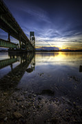 Maine Shore Posters - Sarah Long Bridge Sunset Poster by Eric Gendron
