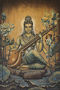 Knowledge Framed Prints - Sarasvati Shakti Framed Print by Vrindavan Das