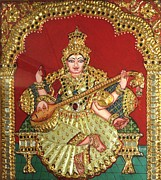24 Carat Gold And Semi-precious Stones Paintings - Saraswathi  by Jayashree