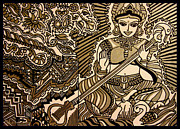 Hindu Drawings Posters - Saraswati-Hindu Goddess of Wisdom Poster by Chandrima Dhar